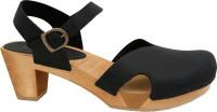 Sanita Clogs Damen Sandalen Wood-Matrix Square Flex Sandal Black