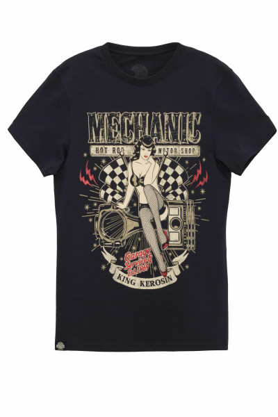 King Kerosin T-Shirt Mechanic Pin Up Black