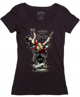 Lucky 13 Female Shirt Down with the Ship Ladies Black
