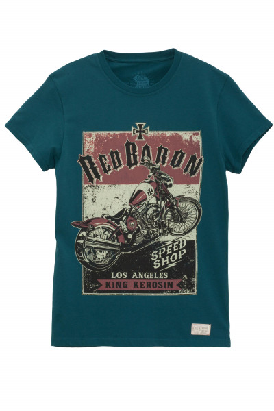 King Kerosin T-Shirt Red Baron Speedshop Blue