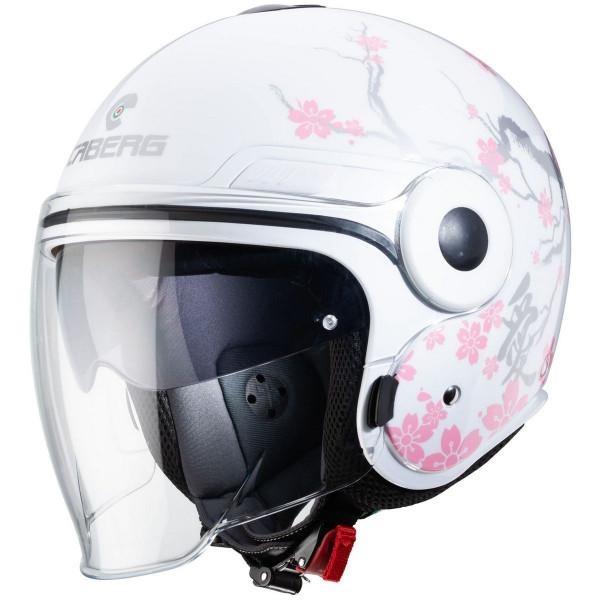 Caberg Motorrad Jethelm Uptown Bloom Weiß/Silber-Pink