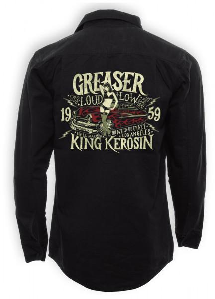 King Kerosin Shirt Greaser Car Club Black