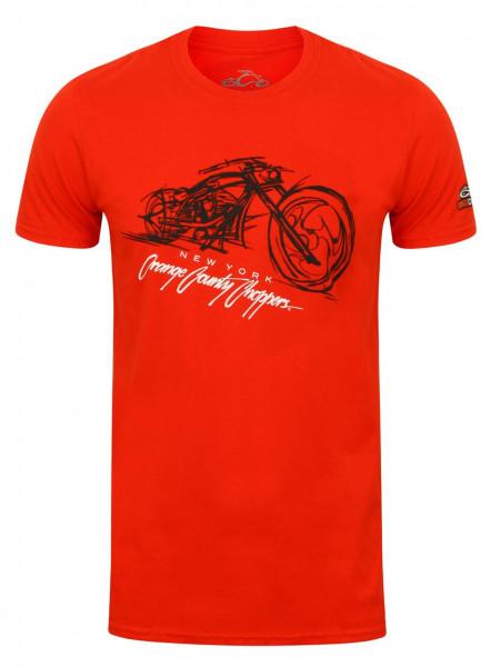 OCC Orange County Choppers T-Shirt Bike Render Red