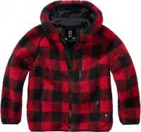 Brandit Kinder Jacke Kids Teddyfleecejacket, Hood Red/Black