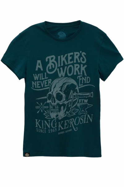 King Kerosin T-Shirt Bikers Work Watercolour Blue