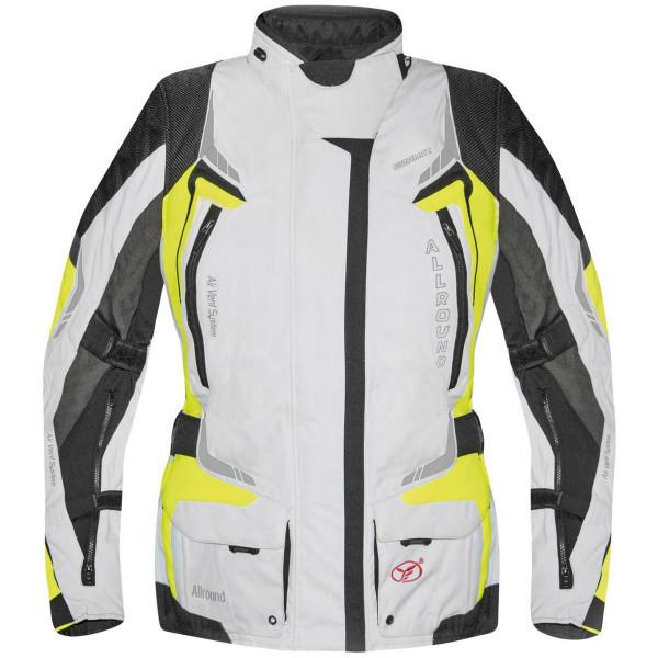 Germot Damen Motorrad Jacke Textiljacke Allround Hellgrau/Gelb