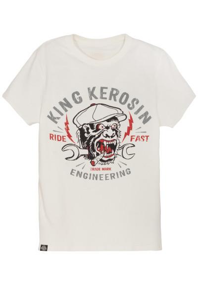 King Kerosin T-Shirt Engineering Monkey White
