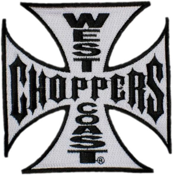WCC West Coast Choppers Patch Iron Cross White