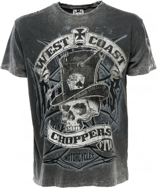 WCC West Coast Choppers T-Shirt Cash Only Grey