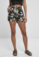 Urban Classics Damen Shorts Ladies AOP Viscose Resort Shorts Black Tropical