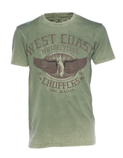 WCC West Coast Choppers T-Shirt Wings Logo Retro Green