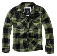 Brandit Hemd Checkshirt in Black/Olive