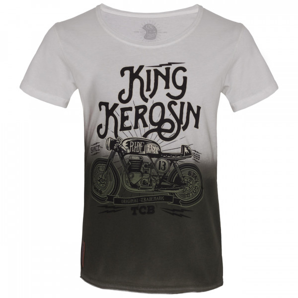 King Kerosin T-Shirt TCB Dip Dye White Olive