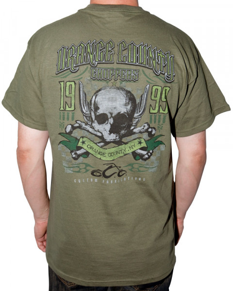 OCC Orange County Choppers T-Shirt Pipe Skull Green