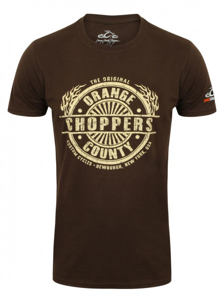 OCC Orange County Choppers T-Shirt Circle Stamp Brown