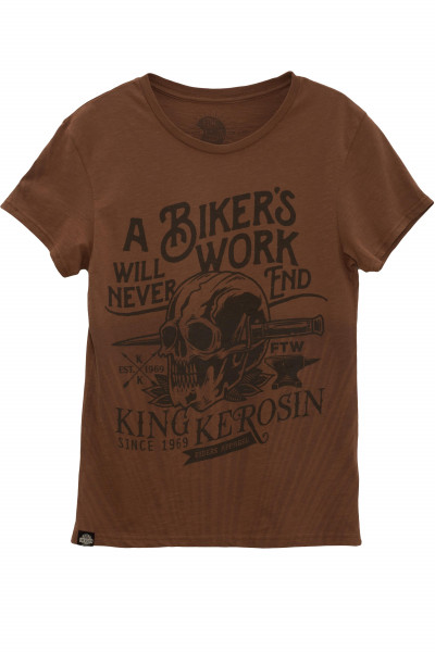 King Kerosin T-Shirt Bikers Work Watercolour Brown