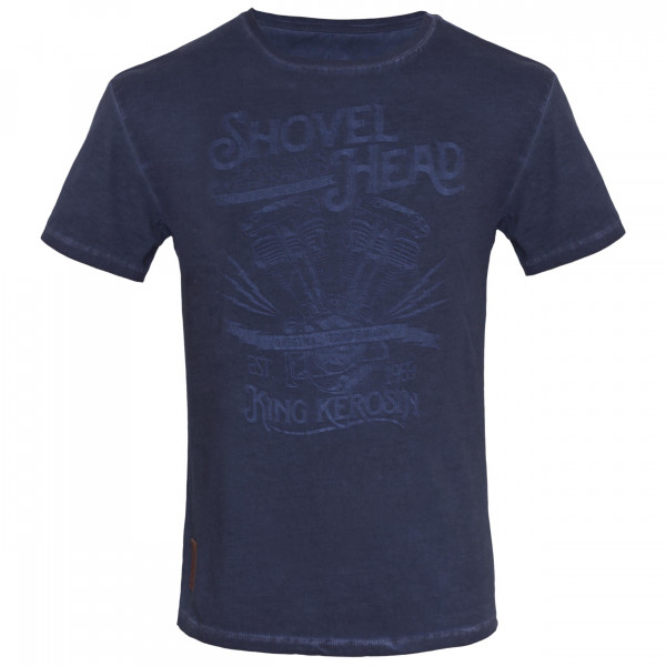 King Kerosin T-Shirt Shovel Head Oilwashed Blue