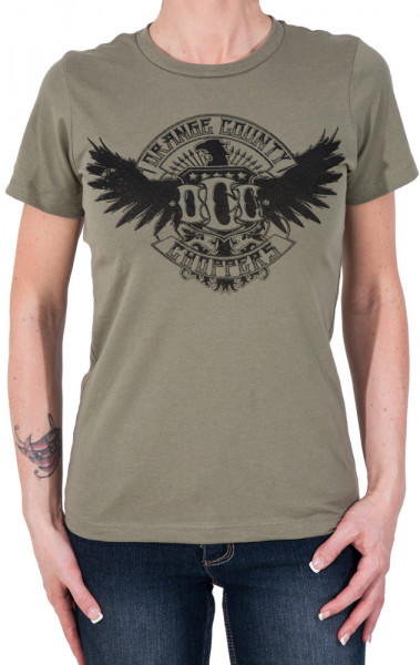 OCC Orange County Choppers Female Shirt Eagle Green