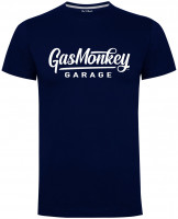 Gas Monkey Garage T-Shirt Large Script Logo Blue