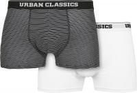 Urban Classics Organic Boxer Shorts 2-Pack Mini Stripe AOP/White