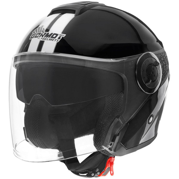 Germot Motorrad Helm GM 660 Jethelm mit integriertem Sonnenvisier Black/White