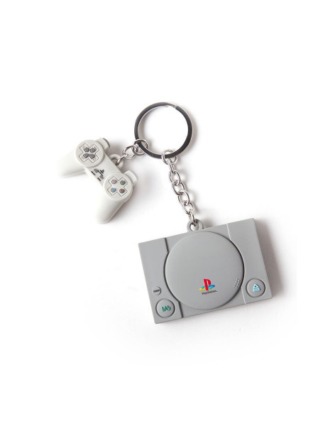 Playstation - Console & Controller 3D Rubber Keychain Grey