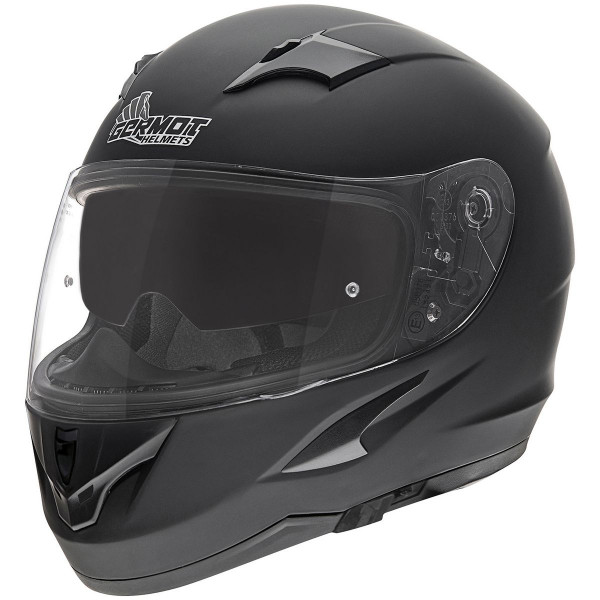 Germot Motorrad Helm GM 306 Integralhelm mit integriertem Sonnenvisier matt Black