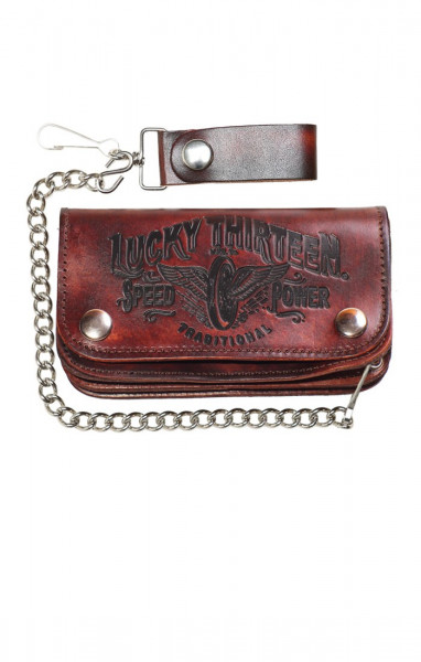 Lucky 13 Wallet Traditional Speed Embossed Brown