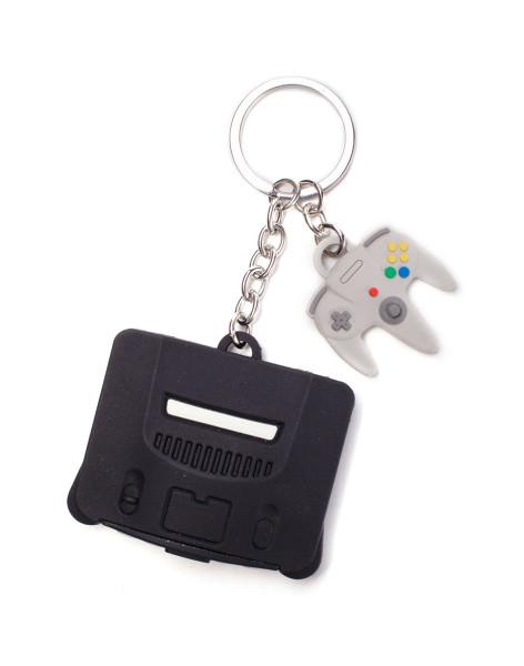 Nintendo Keychains Nintendo - Nintendo 64 & Controller 3D Rubber Keychain Multicolor
