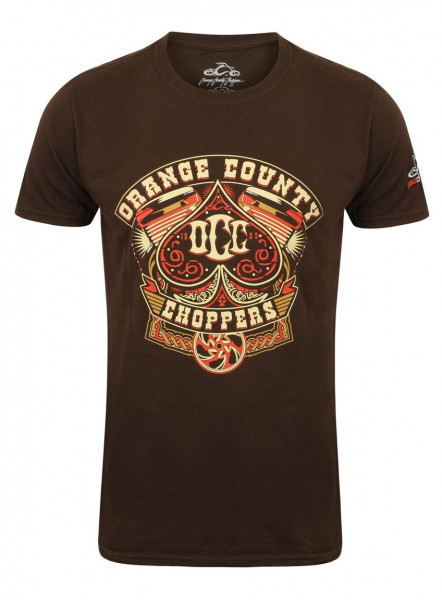 OCC Orange County Choppers T-Shirt Poker Run Brown