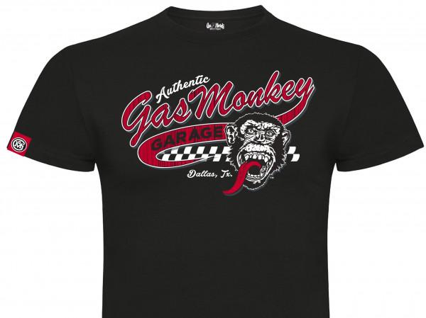 Gas Monkey Garage T-Shirt Red Vintage Athletic Logo Black