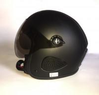 Bores Motorrad Helm Gensler Kult Jethelm mit Visier u. Textil Innenfutter matt Black