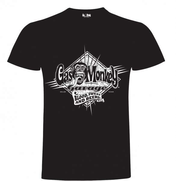 Gas Monkey Garage T-Shirt Blood, Sweat & Beers Spikes Black
