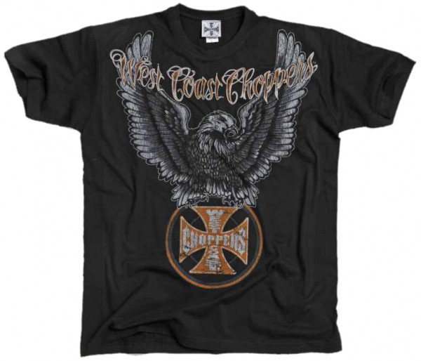 WCC West Coast Choppers T-Shirt Eagle Solid Black