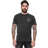 Lucky 13 T-Shirt Dead Skull Tee Washed Black