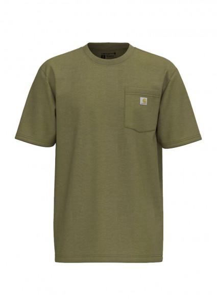 Carhartt T-Shirt K87 Pocket True Olive Snow Heather