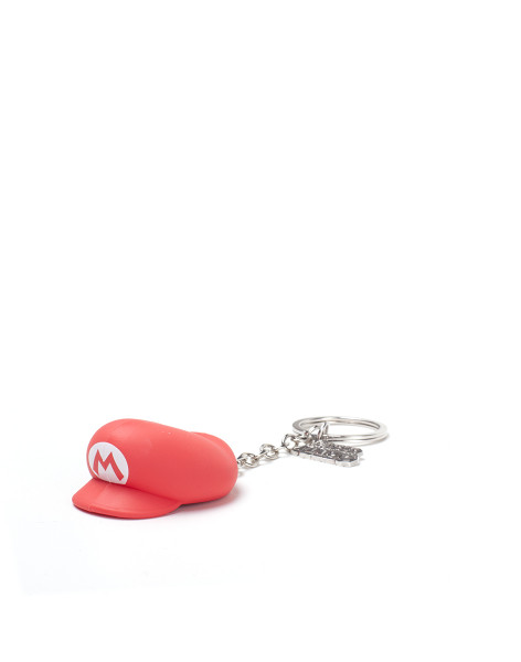 Super Mario Keychain Mario Hat 3D Rubber Red