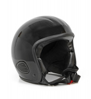 Bores Motorrad Helm Gensler Kult Jethelm mit Textil Innenfutter glänzend Black