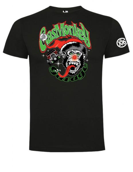 Gas Monkey Garage T-Shirt Weihnachten Rudolph Monkey Black