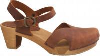 Sanita Clogs Damen Sandalen Wood-Matrix Square Flex Sandal Chestnut